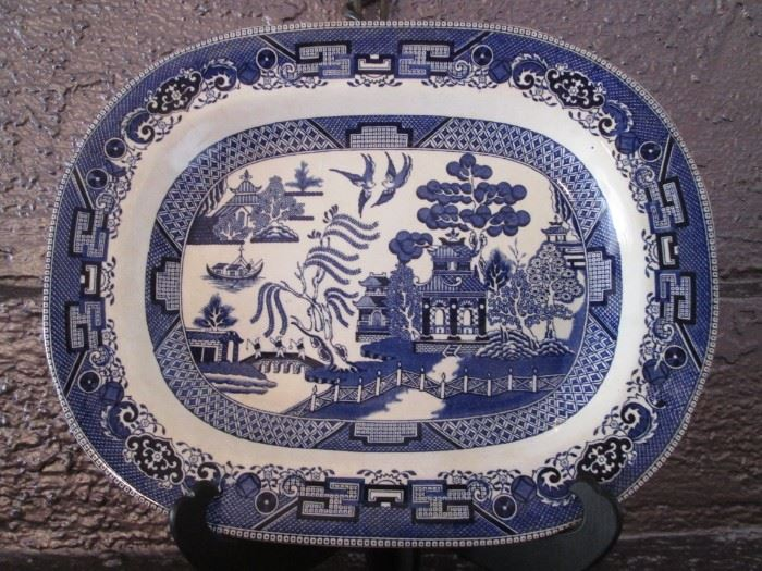 """Flow Blue 14"""" Willow Platter by Buffalo Pottery"""