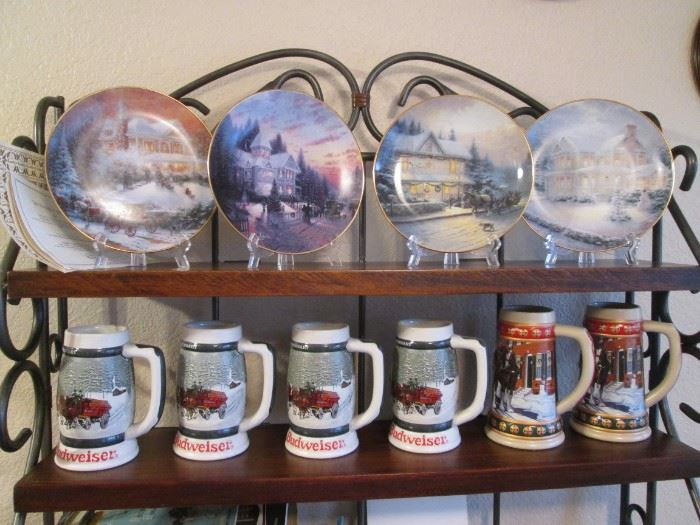 """6-Steins, 4 are """"Budweiser"""".  Collectible Plates by Thomas Kinkade"""