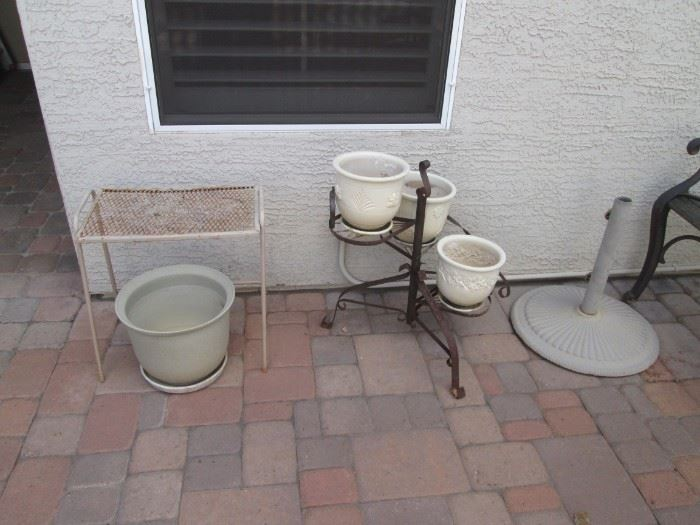 Umbrella Stand and Pots on Stand