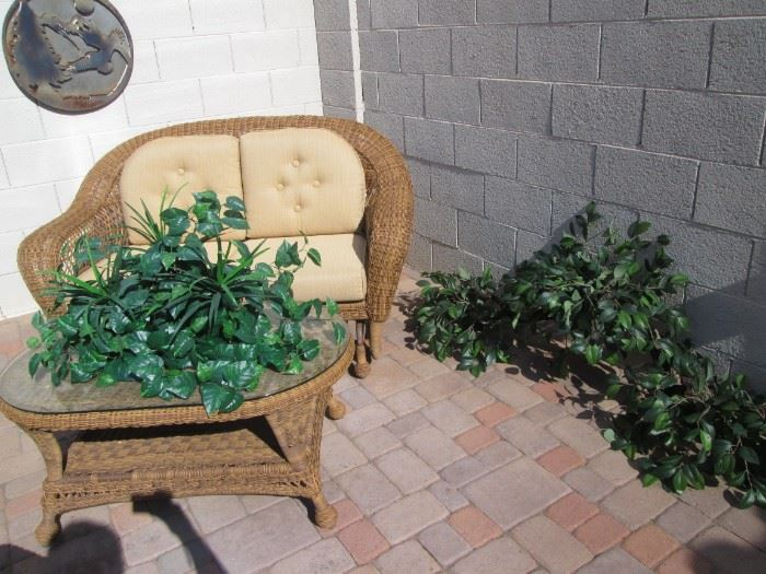 Greenery suitable for Pots or Pot Shelves.  Glider and        Coffee Table + Metal Wall Decor