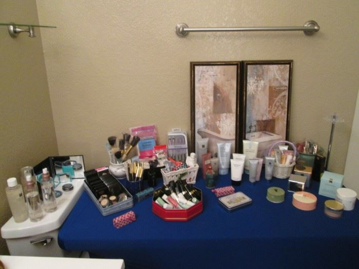 Nice Assortment of Bath Items, including Make-up Products