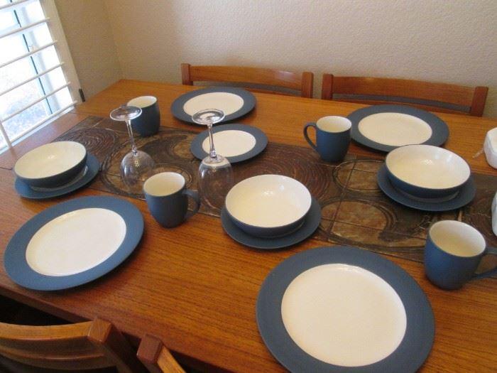 "Noritake Stoneware Dishes #8484 ""Colorwave Blue"".    15 Pieces"