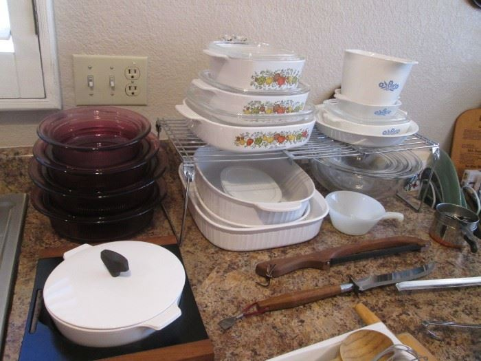 """Always Great and Needed!  Corning Ware, Pyrex and Casseroles...Also See """"Visions"""", upper left, Corning's Glassware Set."""