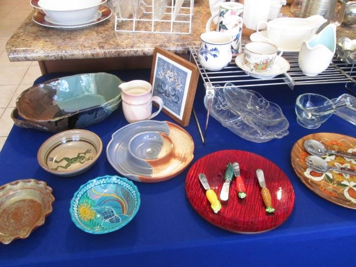 Assorted Ceramic, Glass & China Serving Pieces + Horderves Spreaders