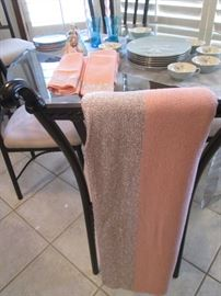 Lovely Silver and Pink Table Cloth & Napkins