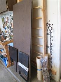 6' Table, Metal Wall Plate Rack; Workbench