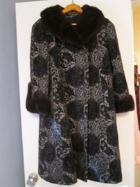 Tapestry-Style Swing Coat with Mink Collar & Cuffs