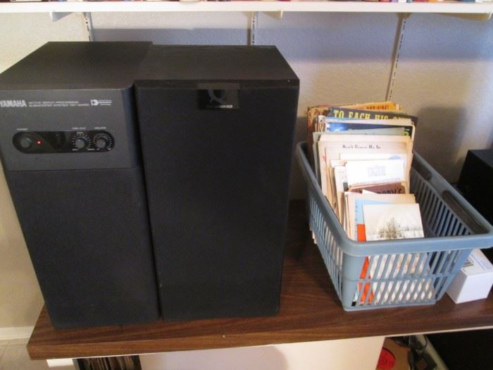 Some Sheet Music.                                                                                       Yamaha Speakers YST-SW50, also Q Series Kef, and Advent 1682 K965