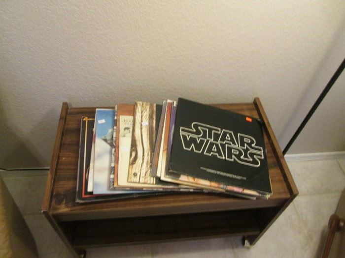 Vinyls on Rolling Cart