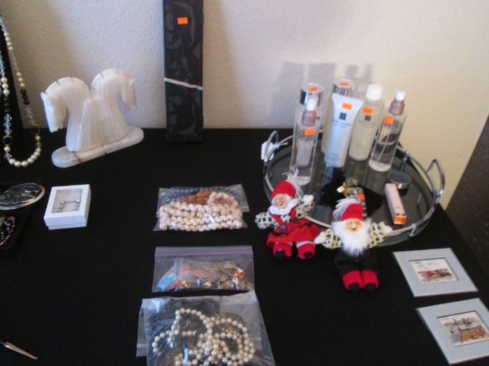 Costume Jewelry & Fragrances + Onyx Bookends