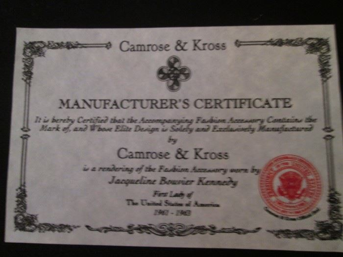 Jewelry Authentication  Camrose & Kross Jackie Kennedy Collection