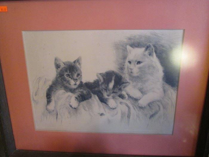 Vintage Etching - Kittens
