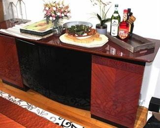 Matching Credenza with Decorative Serving Pieces and Decorative Items