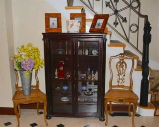 Pair of Wood Occasional Chairs, Cabinet, and Decorative items including Picture Frames