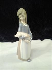 Lladro Girl With Pig Statue