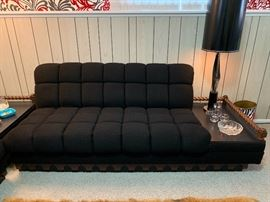 Vintage Craft Associates sectional sofa with two attached end tables and a floating center table