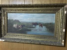 Outstanding 19th century oil on canvas, cows!!