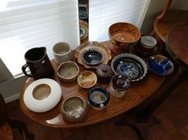 Lots of pottery. Some handcrafted and some well known names.