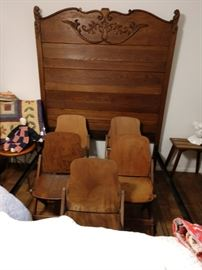 Vintage solid wood theater chairs.