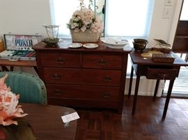 Great handcrafted table with drawer; dresser without mirror; florals.