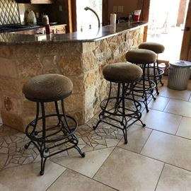 Some of the MANY bar stools, different heights, some with backs