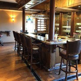 Bar stools, bar glassware, bar accessories