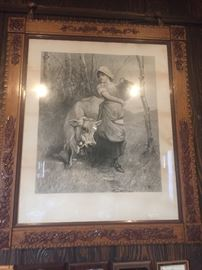 Antique German lady and Cow picture Hand Carved frame  lithograph artwork  1800's  $1,000