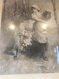 Lithograph  from the 1800s from Germany  -German lady with  cow  The frame is handmade all handcarved
