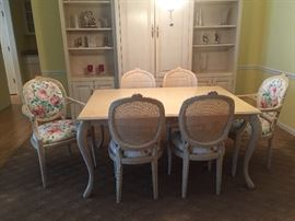 Dining room set table and six chairs shabby chic $500.00 SET