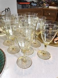 gorgeous vintage glassware with pale yellow stems