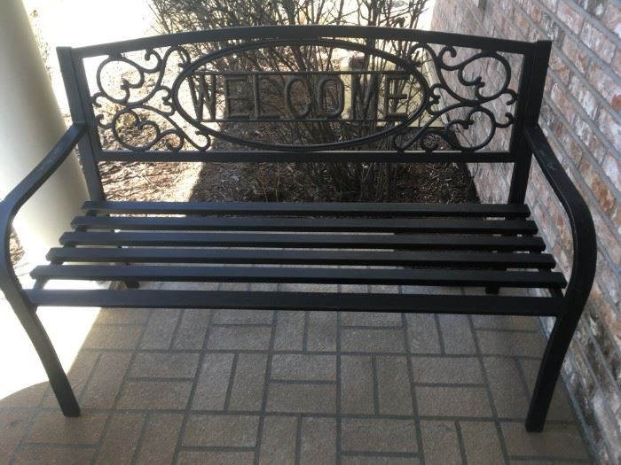 """1 of 2 outdoor """"Welcome"""" benches"""