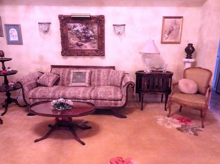 Antique sofa, chocolate table, oil painting