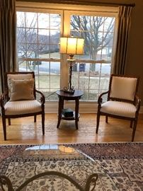 Pr. Arm Chairs , Table, Lamp