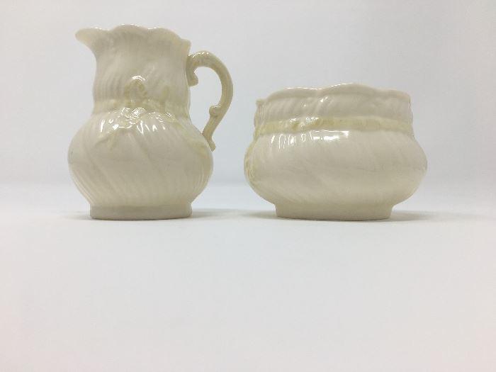 Belleek Irish porcelain sugar and creamer