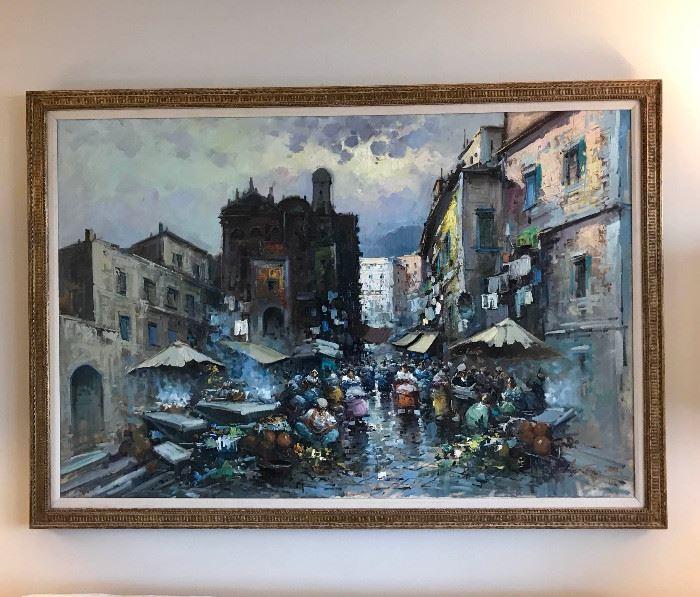 Massive Italian Market Painting https://ctbids.com/#!/description/share/102139