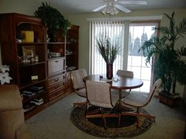small dining room set / large entertainment and display unit