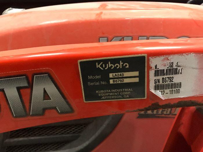 Specs on Kubota front loader LA243