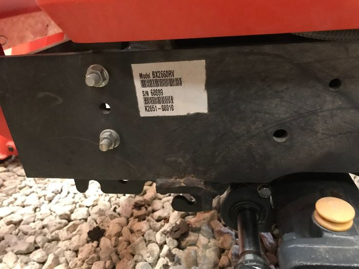 serial number for 2012 Kubota BX 2660 tractor