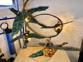 Hand blown glass goose light fixture, made by Traverse City artist, once hung in the Grand Hotel on Mackinac Island.