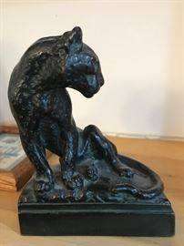 signed bronze cat