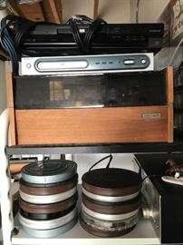 vintage record player, sony cassette player, DVD player, old film reels