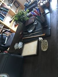 wood office desk and vintage office supplies