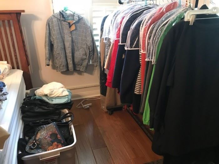 •	A FULL BEDROOM with Walk in Closet of vintage clothing and designer clothing, shoes and handbags. Some Designer Brands include: St. John, Escada, Burberry's, LA Gear (80's), Ralph Lauren, Bill Blass, Lilly Pulzar, Saks 5th Ave, London Fog, etc…