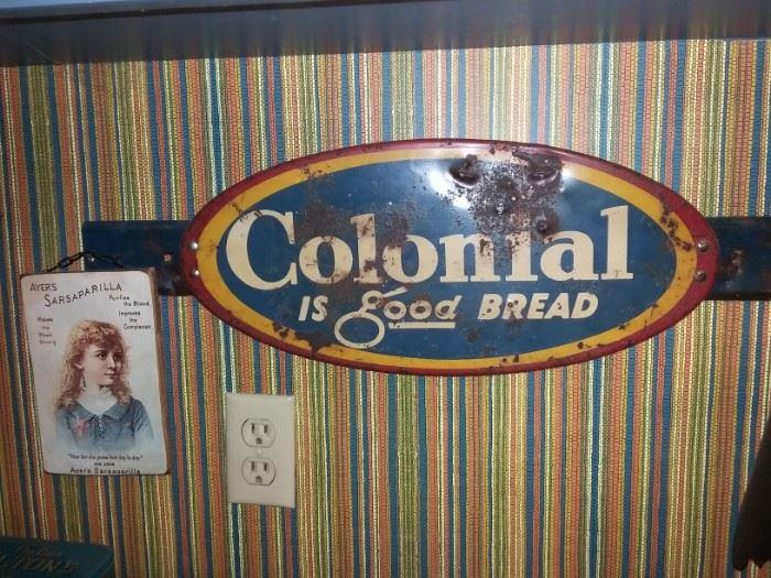 Vintage Colonial Bread Advertising door push
