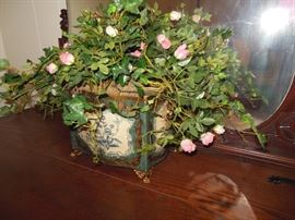 Stunning Floral Arrangement/Gorgeous Hand Painted Footed Container