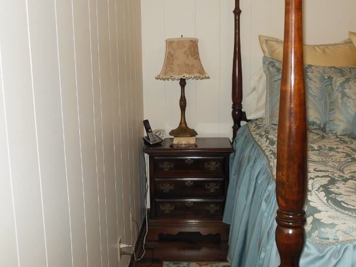 Lovely Three Drawer Nightstand and Lamp
