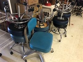 Vintage office chair with wheels, and Vintage  Medical Work stools; (Adjustable, rolling)