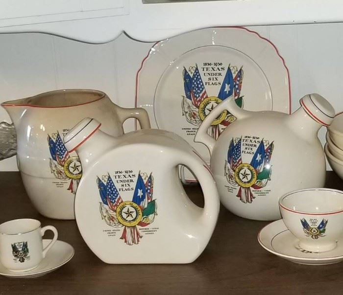*RARE* Texas under Six Flags pottery set (United Potteries Co, 1933)