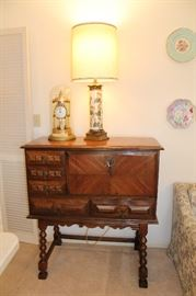 Beautiful Compact Secretary, Anniversary Clock And Lovely Stiffel Lamp
