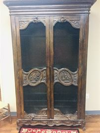 Fantastic Country French lighted  armoire  that features screened doors--GORGEOUS!